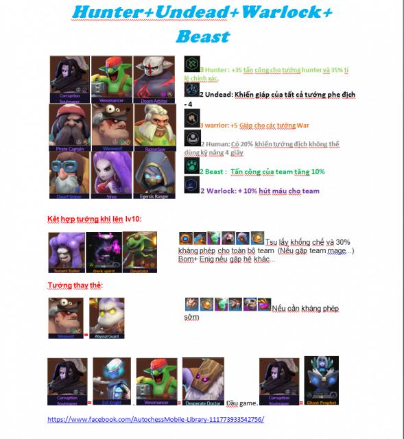Đội hìnhHunter - Undeah - Warlock - Beast