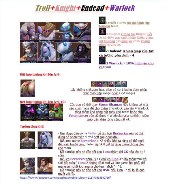 Đội hình Troll - Knight - Undead - Warlock