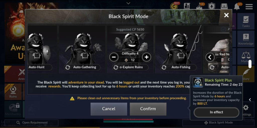 Tăng cấp nhanh chóng trong Black Desert Mobile