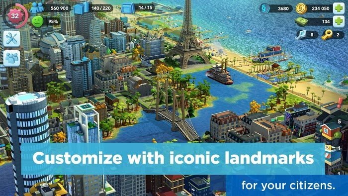 Hack SimCity BuildIt MOD TienLevel10Keys Moi nhat