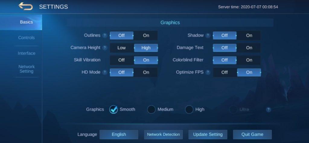 Huyền thoại di động sửa lỗi ping trong cài đặt trò chơi