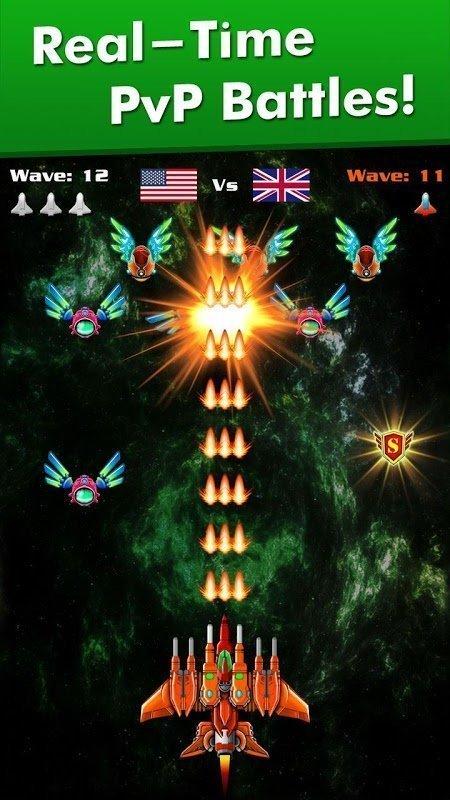 Tai game Galaxy Attack Alien Shooter MOD TienVIP 12God Mien phi