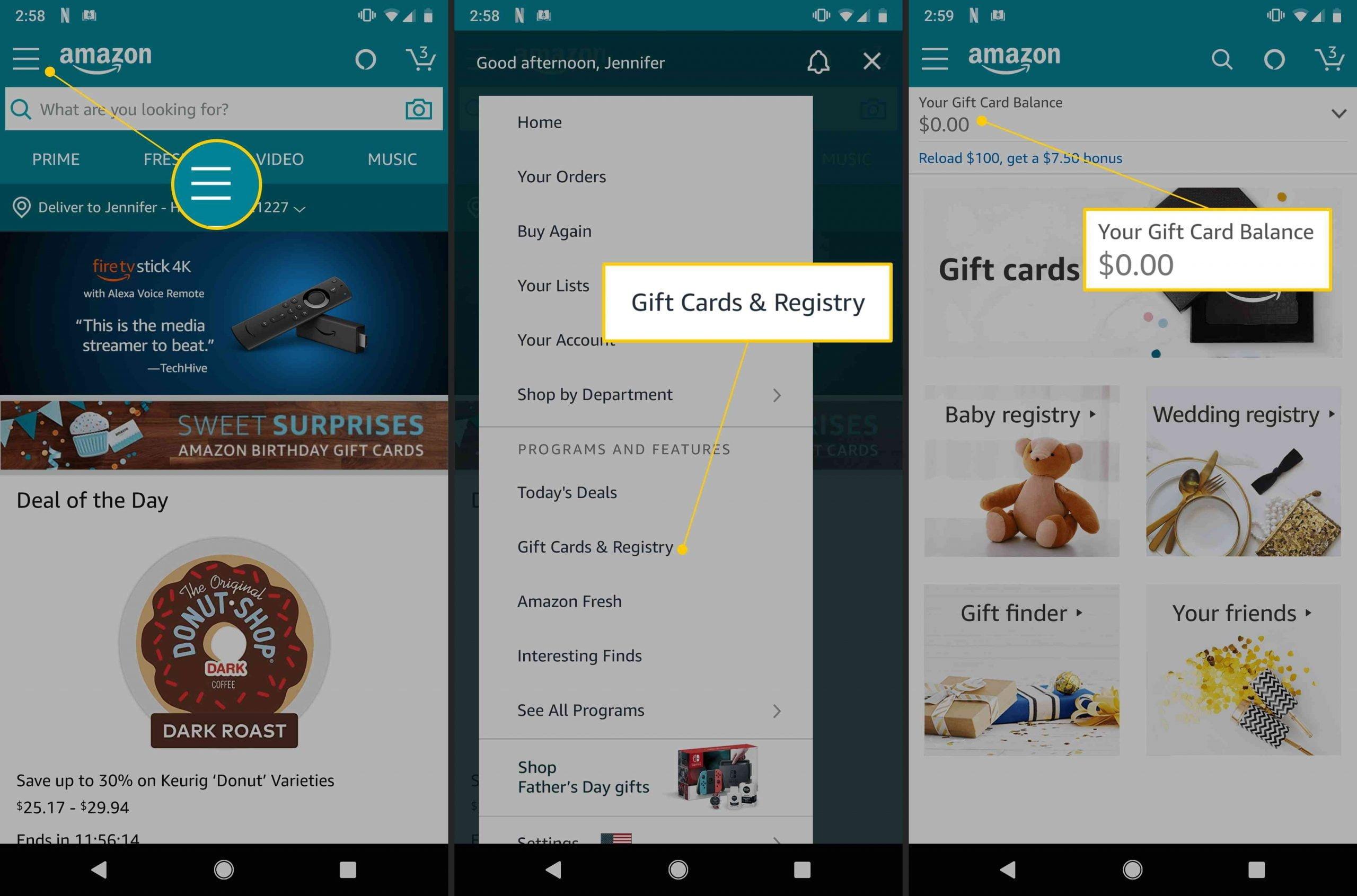Kiểm tra số dư thẻ quà tặng Amazon bằng ứng dụng