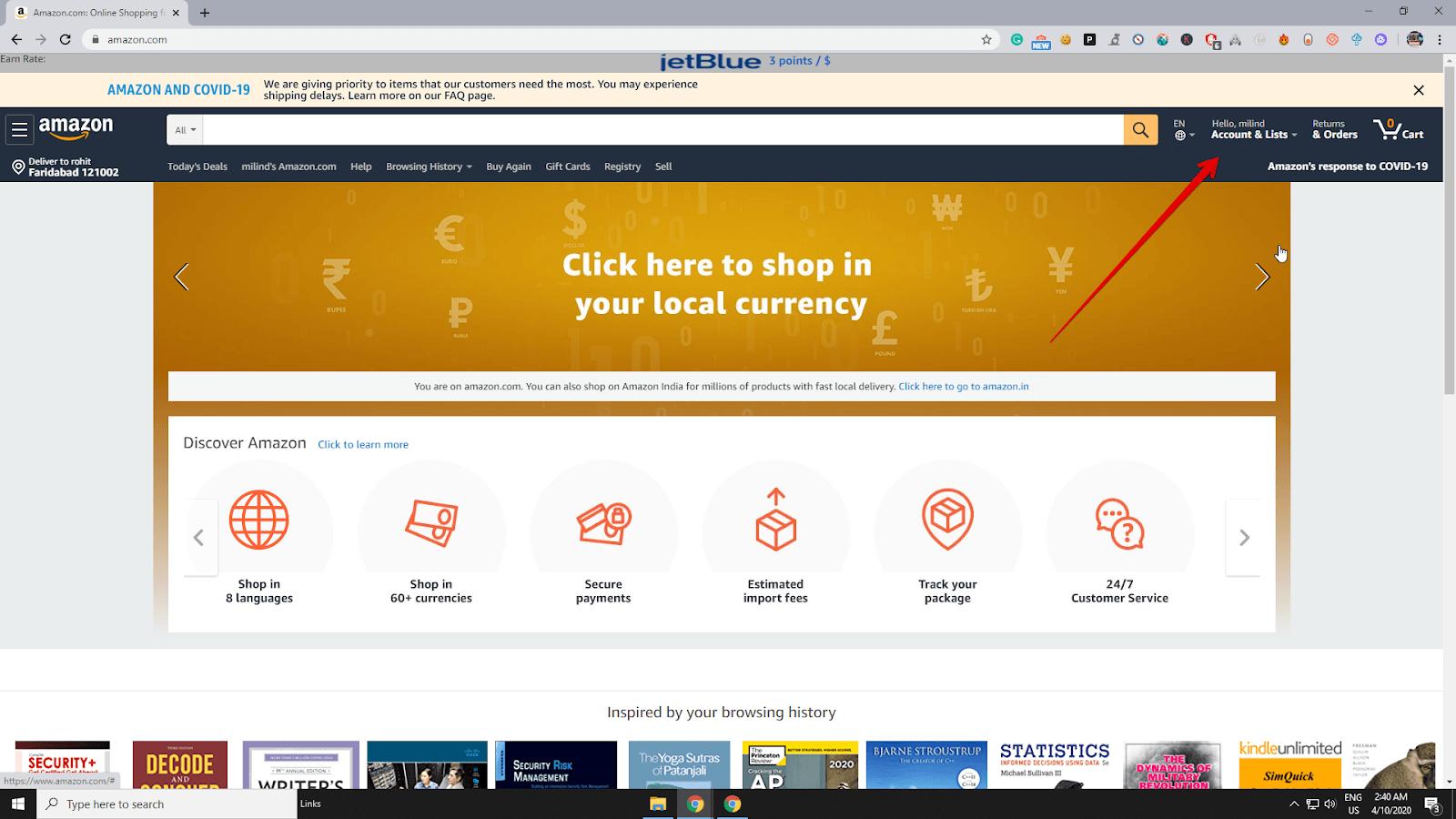 Tài khoản và danh sách Amazon