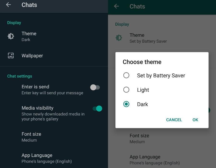 Chọn chủ đề trong WhatsApp Android