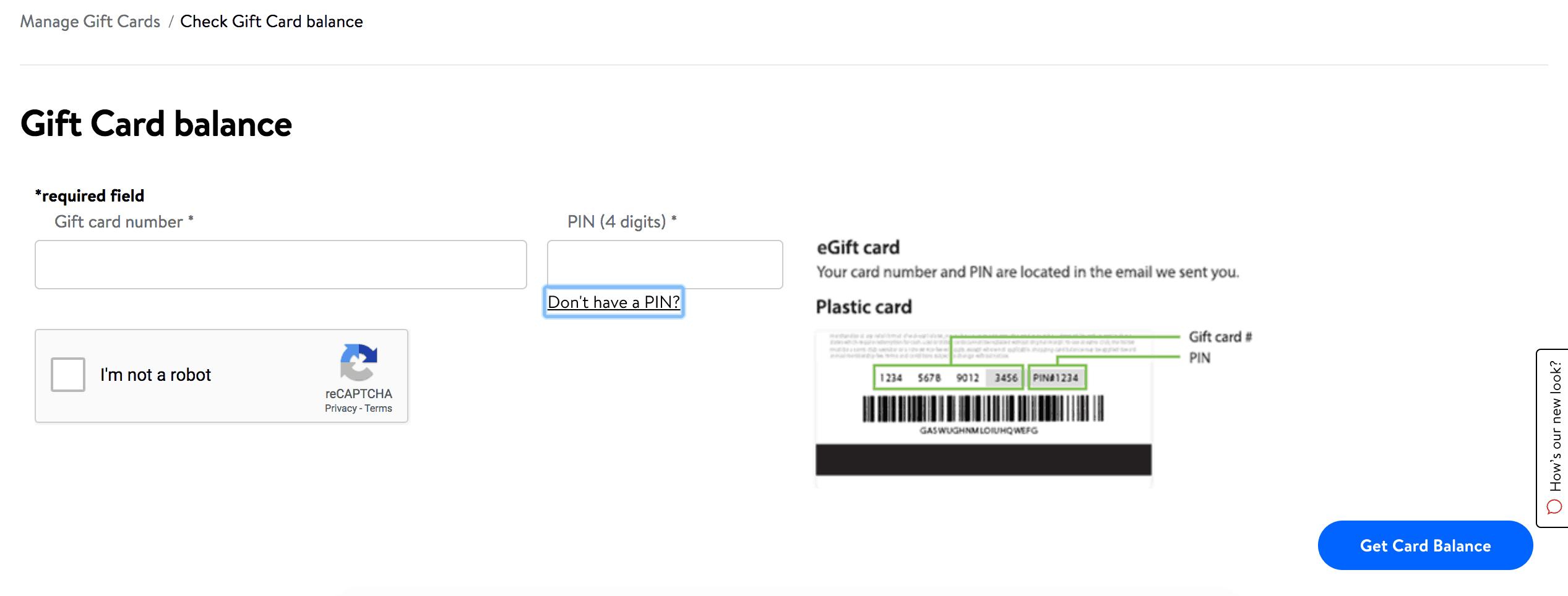Kiểm tra số dư thẻ quà tặng Walmart