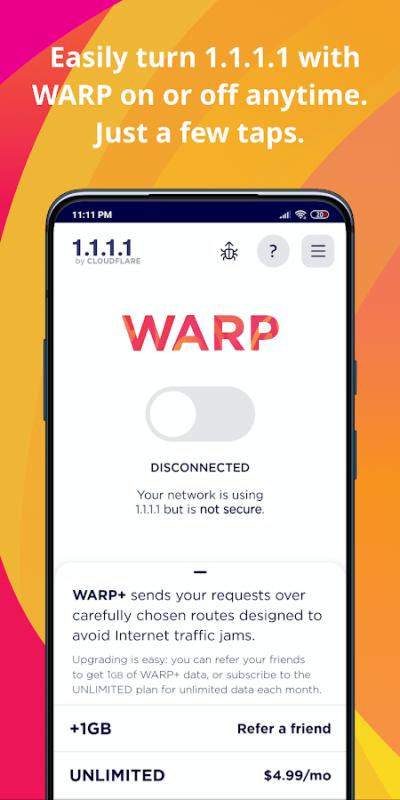 1111 Cloudflare DNS MOD Free WARP