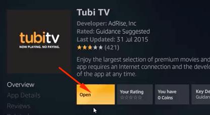 Ứng dụng Tubi TV Mở