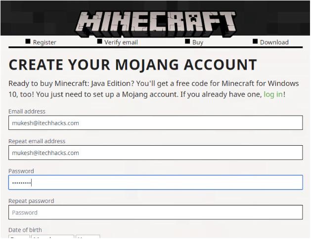 Tạo tài khoản Mojang của bạn trên Minecraft