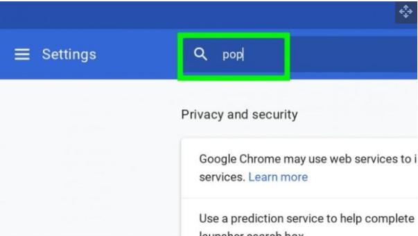 Tìm kiếm cửa sổ bật lên trong cài đặt bảo mật
