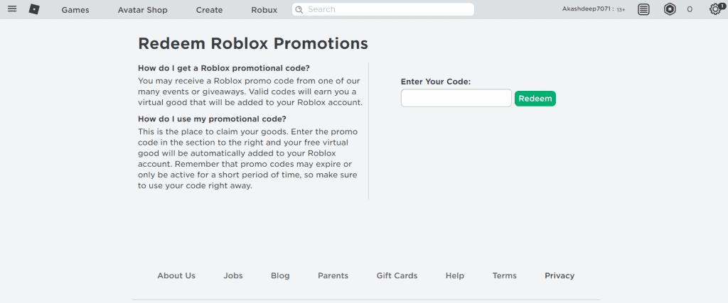 Đổi mã khuyến mại Roblox